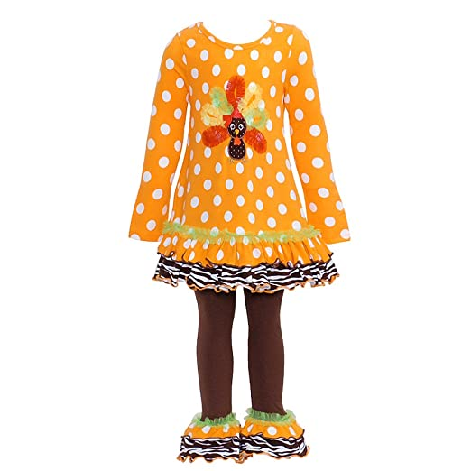 Bonnie Jean Girls Polka Dot Turkey Applique Leggings set
