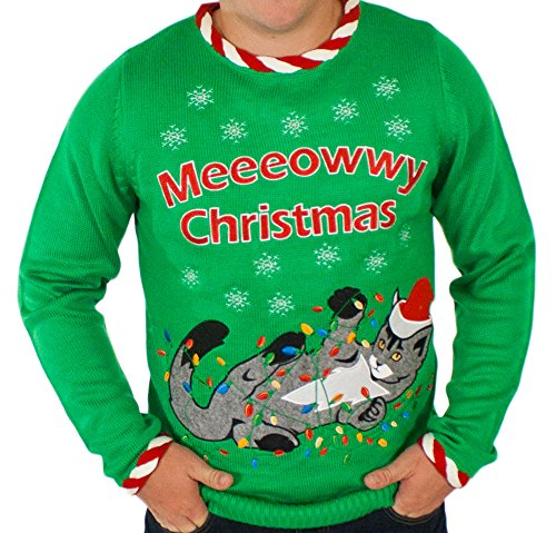 Men's Lighted Tangled Cat Ugly Christmas Sweater in Green By Festified