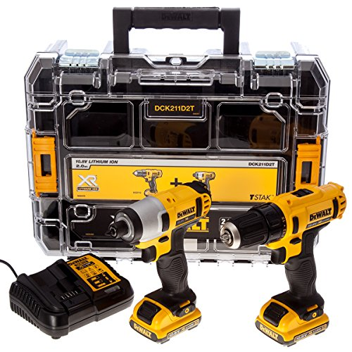 61vqVxTan2L - BEST BUY #1 DeWalt DCK211D2T 10.8V Li-ion Cordless Compact Drill Driver and Impact Driver (Twin Pack)