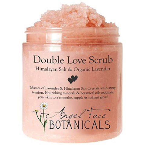 Double Love Body Scrub with Himalayan Salt & Organic Lavender Essential Oils - Moisturizing and Exfoliating Sea Salt and Oil Scrub by Angel Face Botanicals