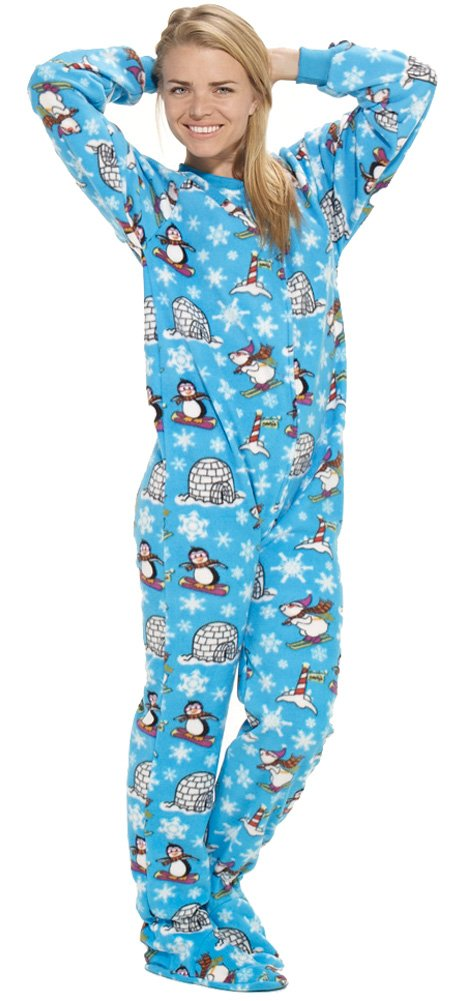 Footed Pajamas Winter Wonderland Adult Fleece