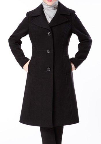 BGSD Women's Long Wool Blend Walking Coat in Black, Chocolate, or Camel
