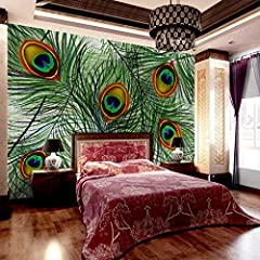 JCK VISION modern design beautiful colored big artificial peacock feathers images pattern home wall decal large murals wallpaper