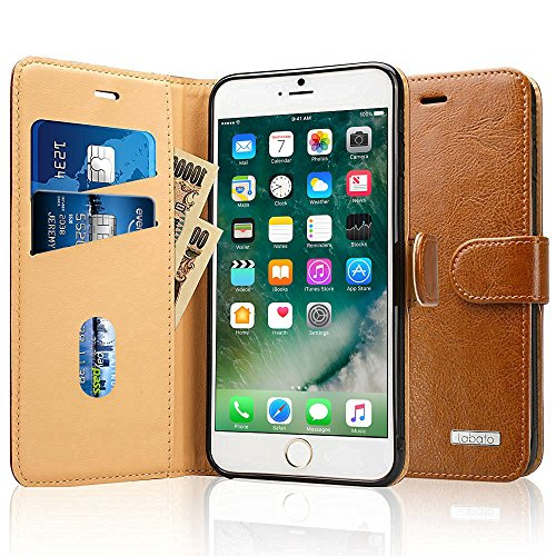 Labato iPhone 7 Plus ケース 手帳型 本革レザー アイフォン7プラス カバー TPU 財布型 スタンド機能 カードポケット 手作り ハンドメイド 耐摩擦 耐汚れ 全面保護 フリップ 人気 全四色 ブラウン lbt-I7L-02Z20