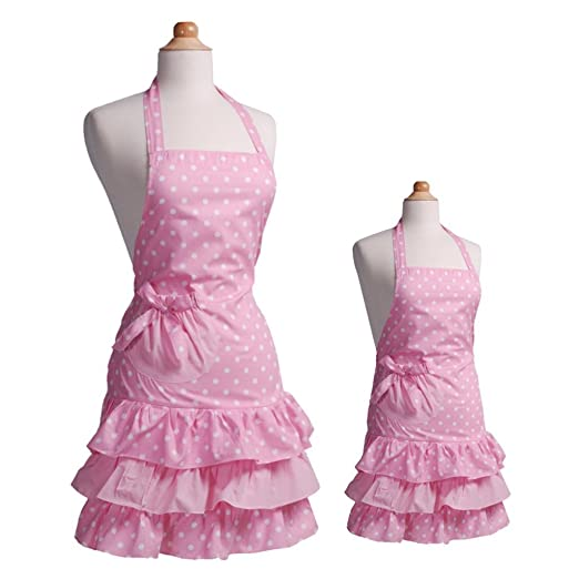Payviva 100% Cotton Fabric Material Three Tiered Ruffles With a Big Bow on the Pocket Kitchen Apron Pink Dots Color Kids and Mother