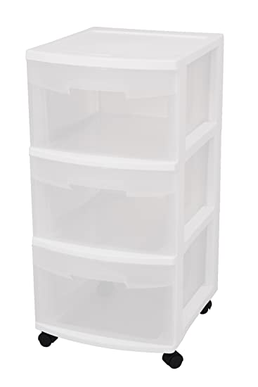 Sterilite 28308002 3-Drawer Medium Cart with See-Through Drawers and Black Casters, White, 2-Pack