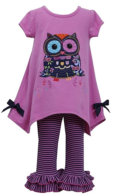 Bonnie Baby Baby-Girls Infant Magenta OWL Applique Hanky Leggings outfit