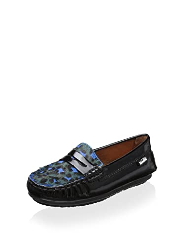 Venettini Savor Cheetah Print Loafer, Black, 24 M EU/8 M US Toddler