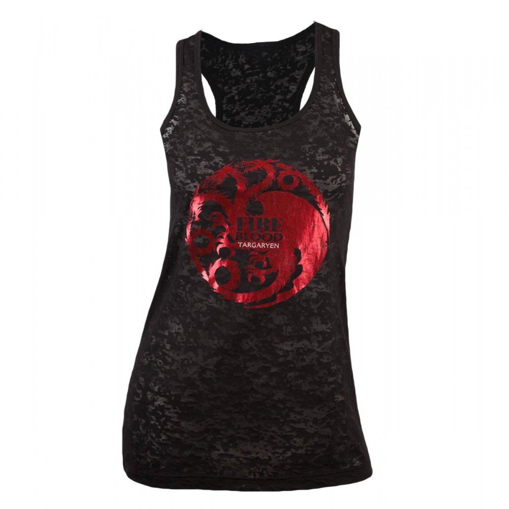Game of Thrones Women's Targaryen Foil Print Burnout Slim Fit Tank Top