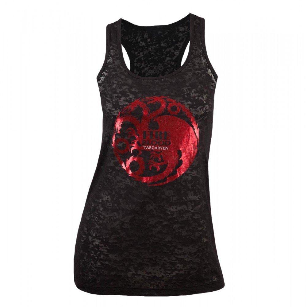 Game of Thrones Women's Targaryen Foil Print Burnout Slim Fit Tank Top