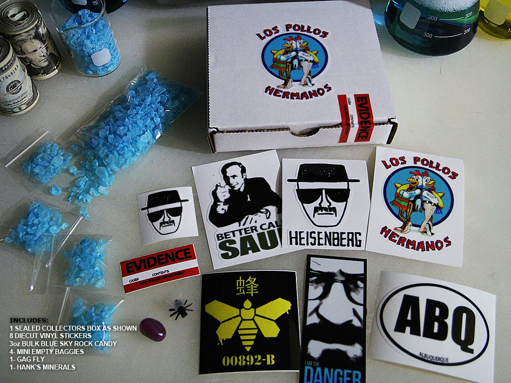 """Gift Set """"Stickers and Blue Sky Candy"""" Boxed Set - Breaking Bad Props"""