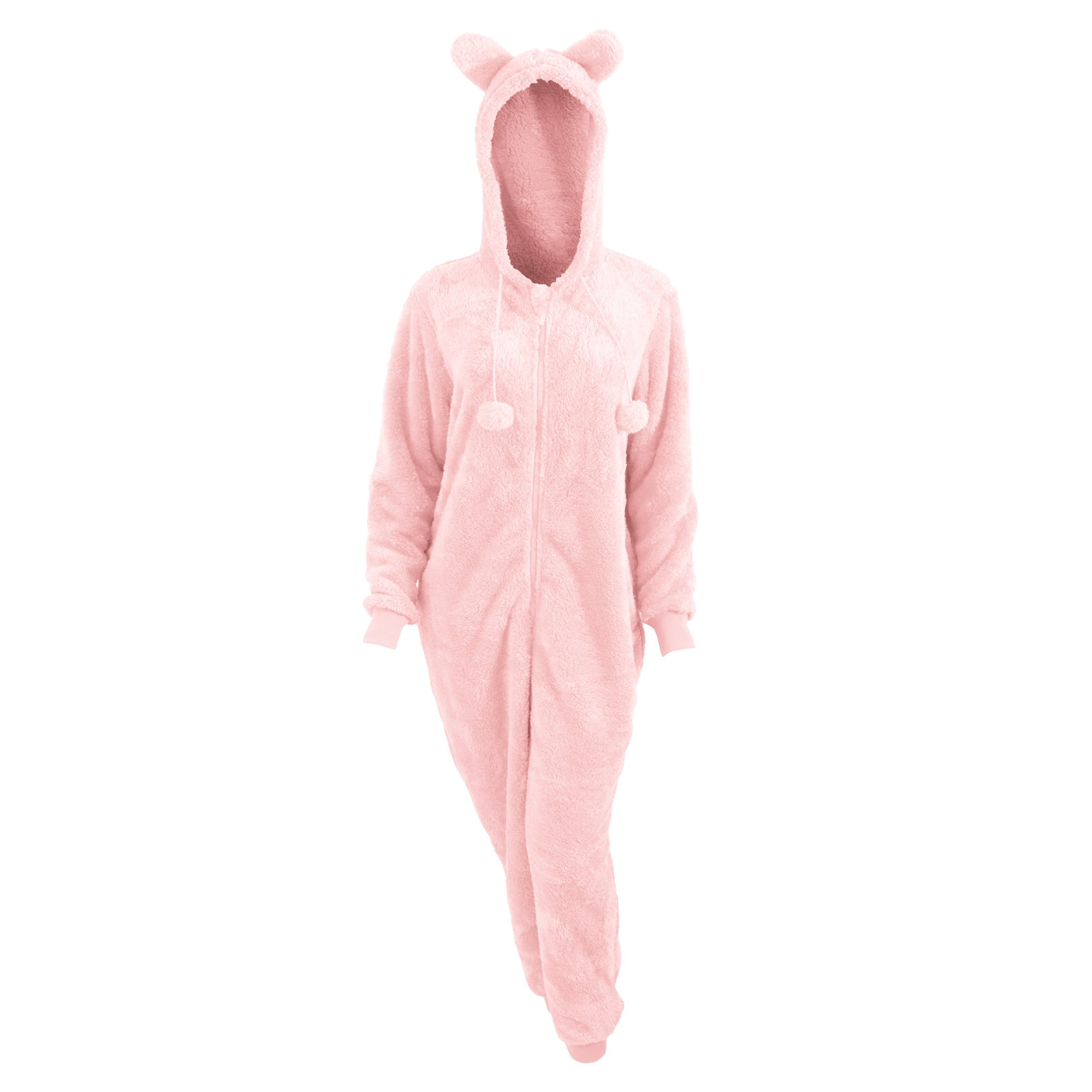 Womens/Ladies Animal Design Supersoft Fleece Onesie With Ears