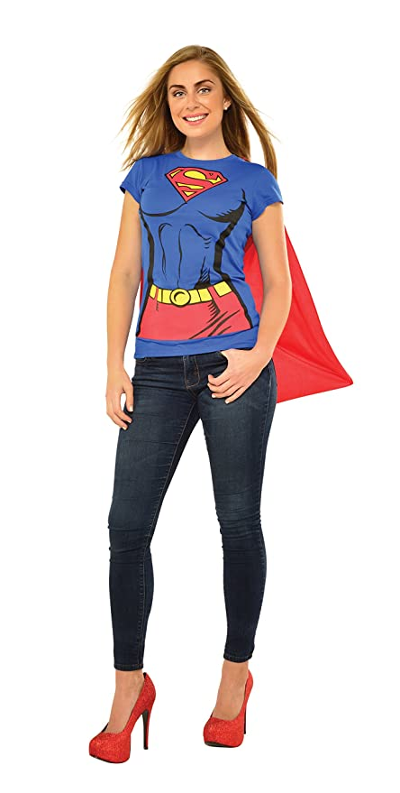 DC Comics Super-Girl T-Shirt With Cape, Blue, Large Costume