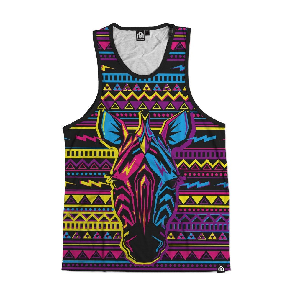 INTO THE AM Neon Zebra All Over Print Rave Tank