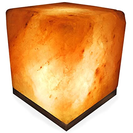 Crystal Allies Gallery: Natural Himalayan Cube Salt Lamp Ionic Air Purifier on Wood Base with Cord, Light Bulb & Authentic Crystal Allies Info Card