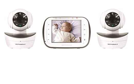 Motorola Digital Video Baby Monitor with 2 Cameras, 3.5 Inch Color Video Screen, Infrared Night Vision, with Camera Pan, Tilt, and Zoom