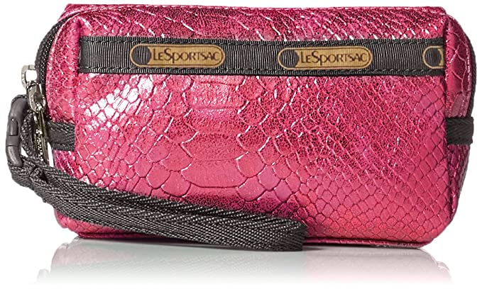 LeSportsac Crazy For Color Small 2 Zip Wristlet, Pink Snake, One Size
