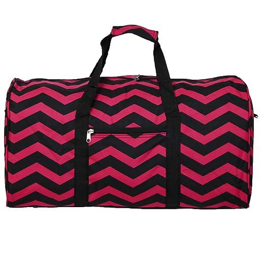 World Traveler 22 Inch Duffle Bag, Fuchsia Black Chevron, One Size