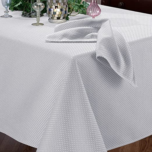 Benson Mills Prego Waffleweave Fabric Tablecloth, White, 60-Inch-by-120-Inch