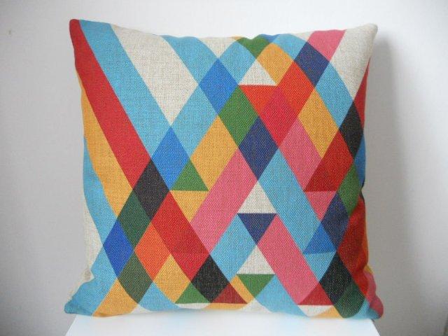 "Cotton Linen Square Throw Pillow Case Decorative Cushion Cover Pillowcase Color Stripes 18 ""X18 """