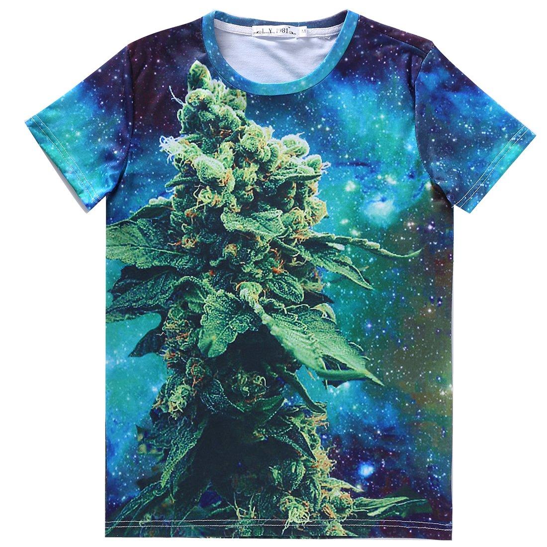 Unisex Marijuana Weed Galaxy T Shirt Clothing Women Men Size L