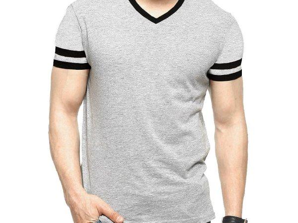 Tripr Men's V-Neck Tshirt Grey Black strip