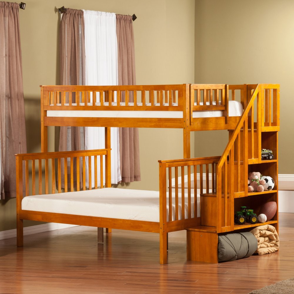 Woodland Staircase Bunkbed Twin over Full with 2 Raised Panel Bed Drawers in Caramel Latte Finish
