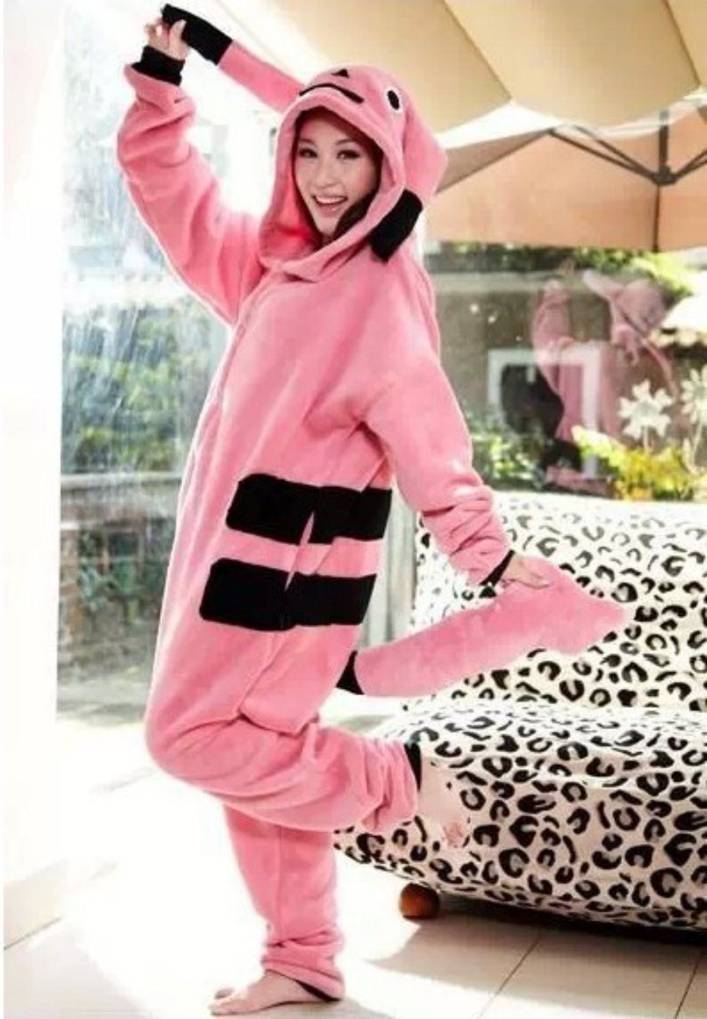 Adults Costume Ladies Pink Pikachu  Kigurumi