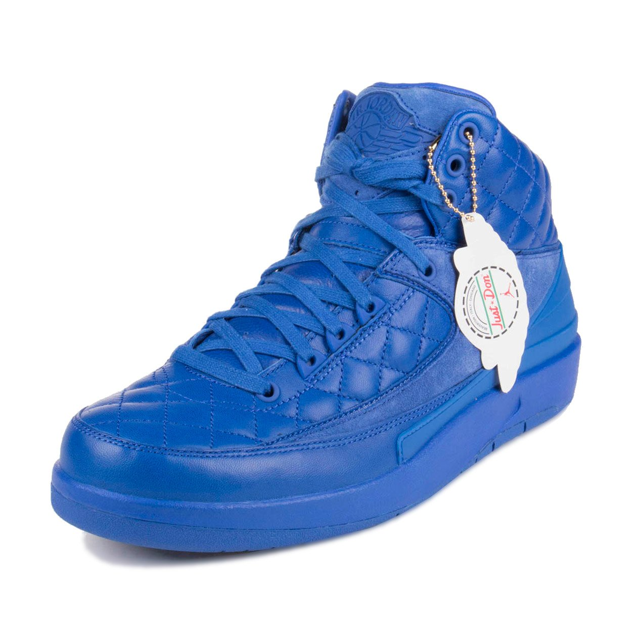 "Nike Mens Jordan 2 Retro ""Don C"" Bright Blue/Metallic Gold-University Red Leather Basketball Shoes"