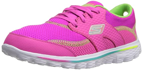 Skechers Kids 81040L GO Walk 2 Stance Athletic Sneaker,Neon Pink/Lime,2 M US Little Kid