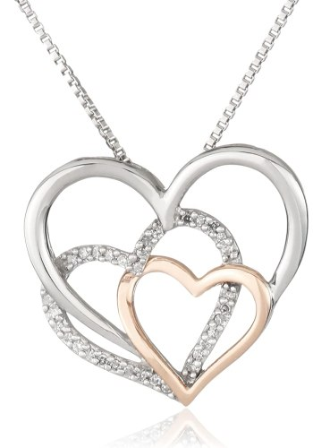 XPY Sterling Silver and 14k Pink Gold Diamond Triple Heart Pendant Necklace, 18 inch
