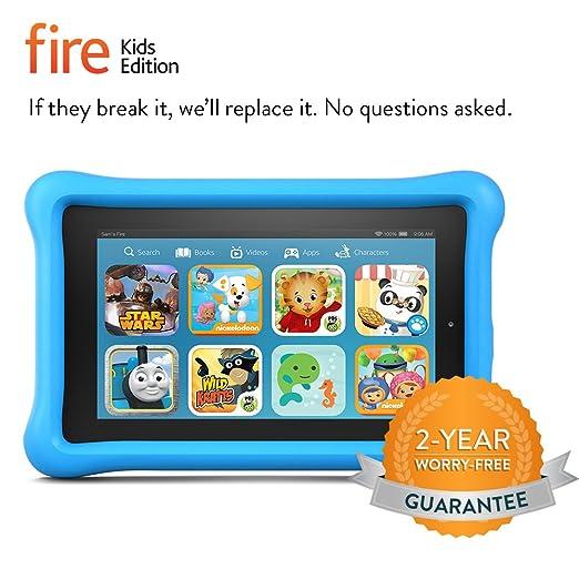"Fire Kids Edition, 7"" Display, Wi-Fi, 8 GB, Blue Kid-Proof Case"