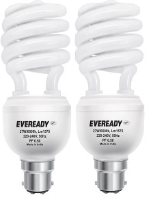 Buy Eveready ELS 27-Watt CFL (White and Pack of 2) At Rs 379 Only @ Amazon