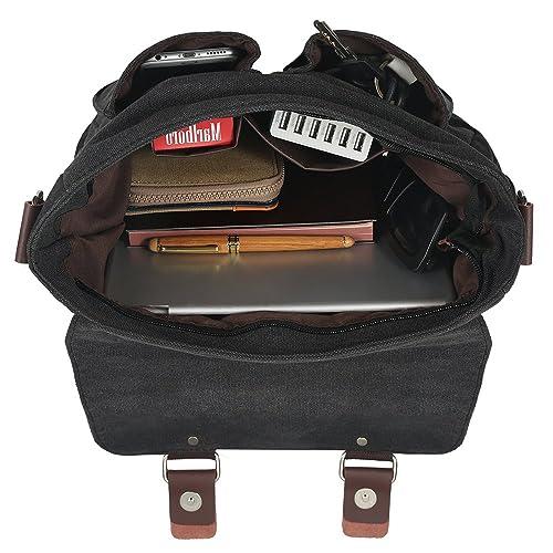 Smriti Retro Cotton Canvas Hiking Messenger Bag Fits to iPad Air 2- Coffee / Black