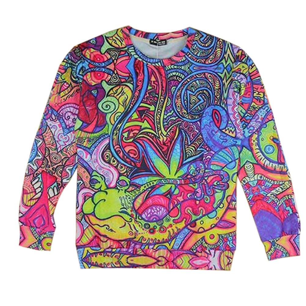 Women's Sweater Colorful Hippie Weed Shirt Hoodie 3D Swag Sweatshirts