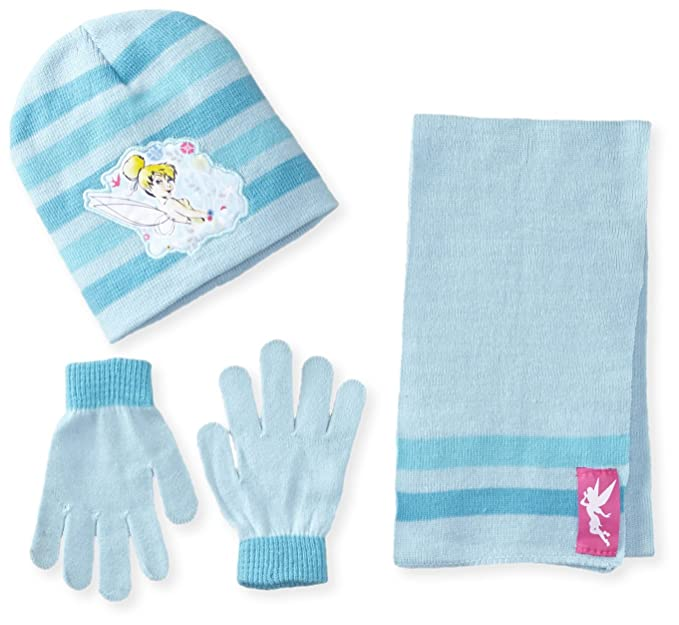 Berkshire Big Girls' 3 Piece Fairy Tinkerbell Beanie Glove and Scarf Set, Multi, One Size