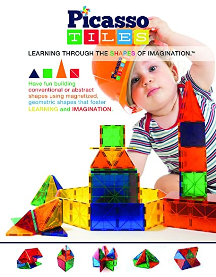 "PicassoTiles® 100 piece set Magnet Building Tiles Clear 3D color Magnetic Building Blocks - Creativity beyond Imagination! - Educational, Inspirational, Conventional, and Recreational!"""