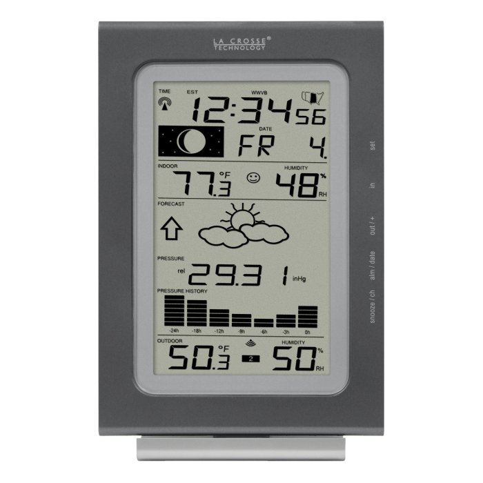 Amazon.com : La Crosse Technology WS-9037U-IT Atomic Forecast Station Our weather station we keep mounted in the living room – ties in to 2 remote sensors as well, so we can monitor our plumbing bay too.