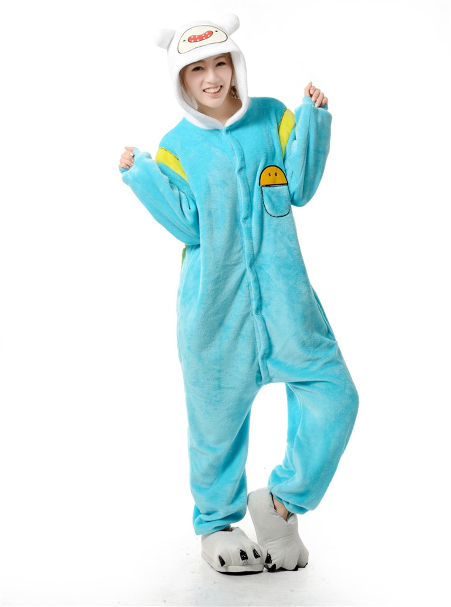 Adventure Time Finn Kigurumi Pajamas Adult Anime Cosplay Costume Onesies