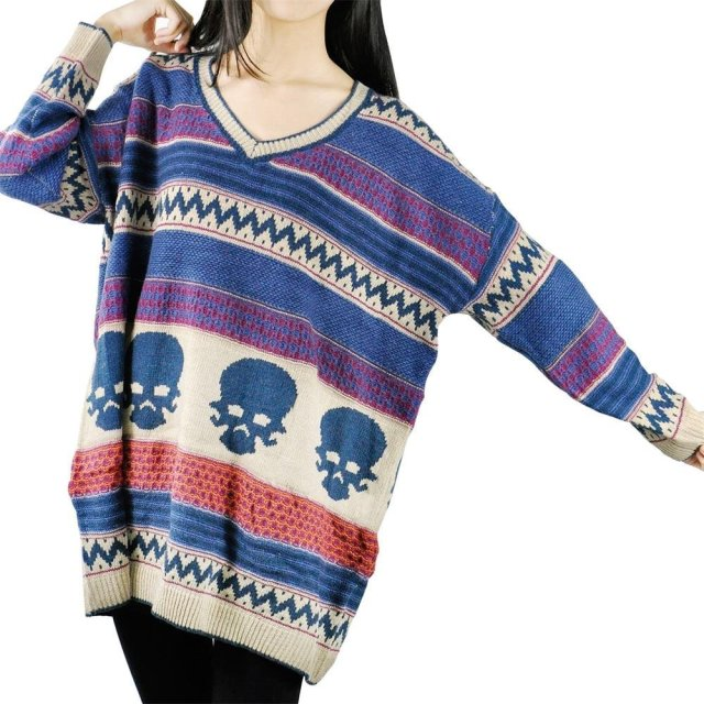 Loose Womens Neck Pullover Skull Sweater