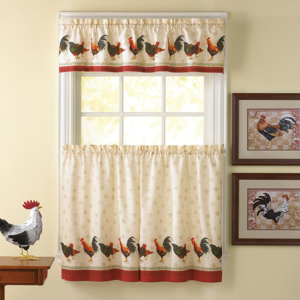 Morning Rooster Kitchen Curtain Set