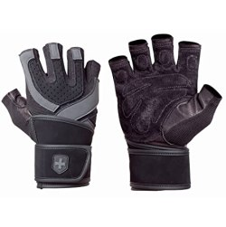Harbinger 1250 Training Grip WristWrap Glove, Black/Grey