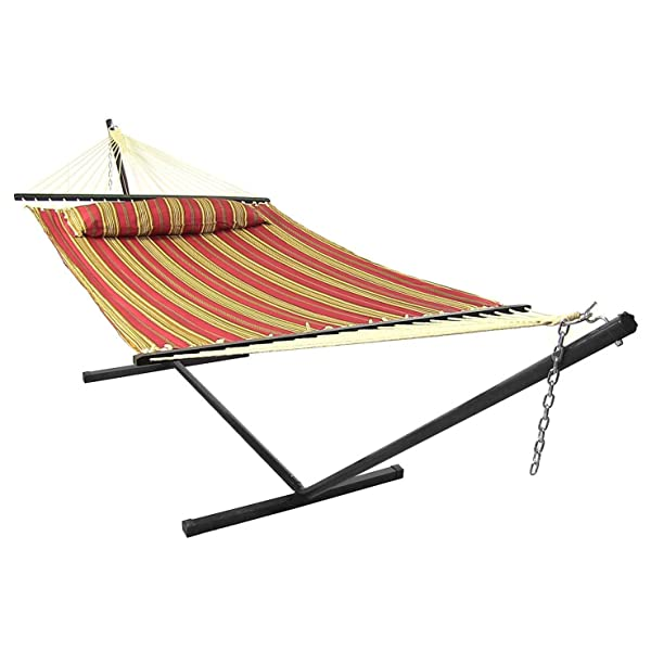 Sunnydaze Red Quilted Double Fabric Hammock with Spreader Bars, Pillow and Stand Combo 128L x 55W inches Review