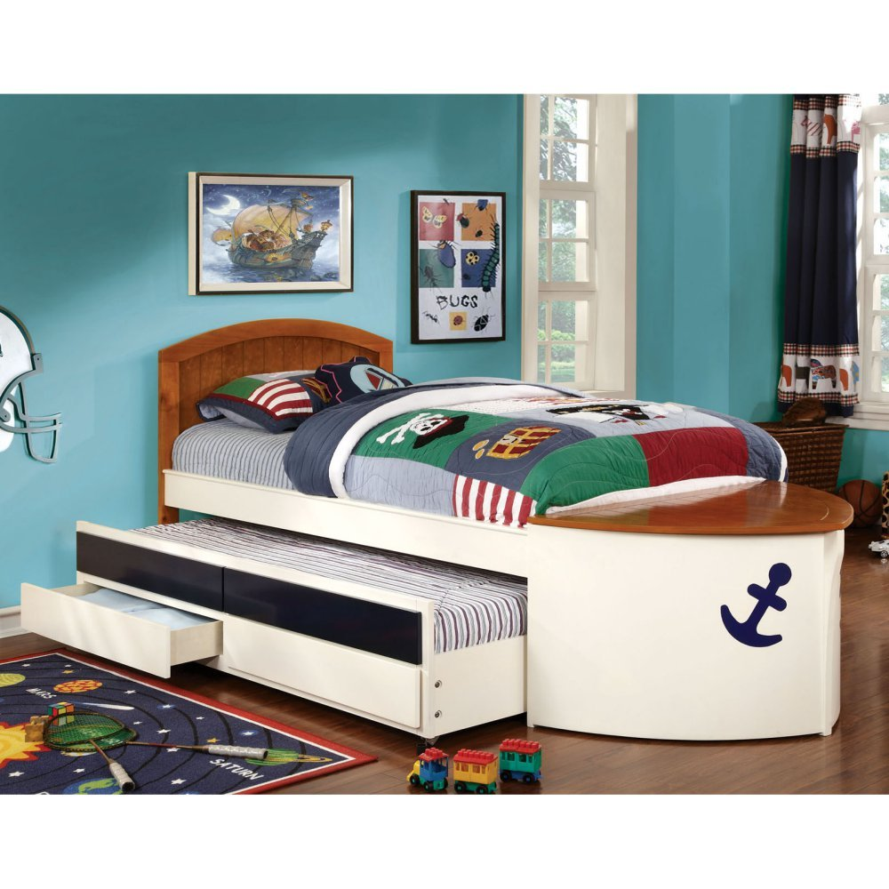 Furniture of America Lets Sail Boat Inspired Twin Bed with 2 Drawer Trundle - /Oak, White, Metal, Twin
