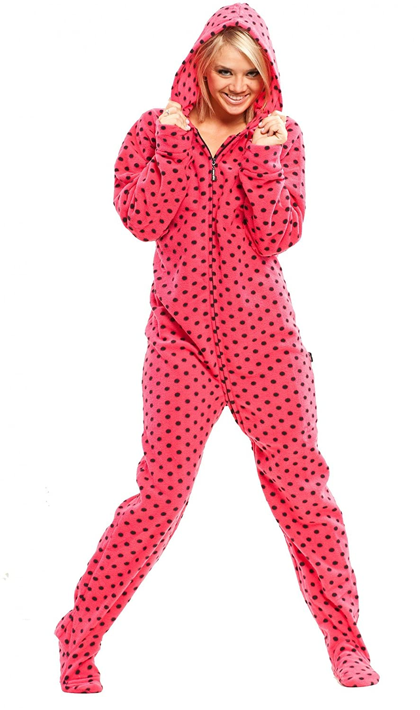 Pink Diva Dots Hoodie Footed Pajamas