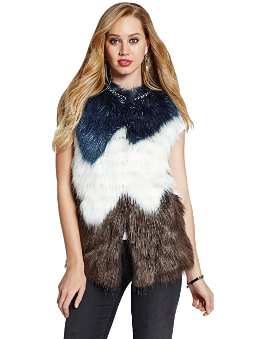 GUESS Women's Lena Vest, WHITE BLUE BROWN COMBO (LARGE)