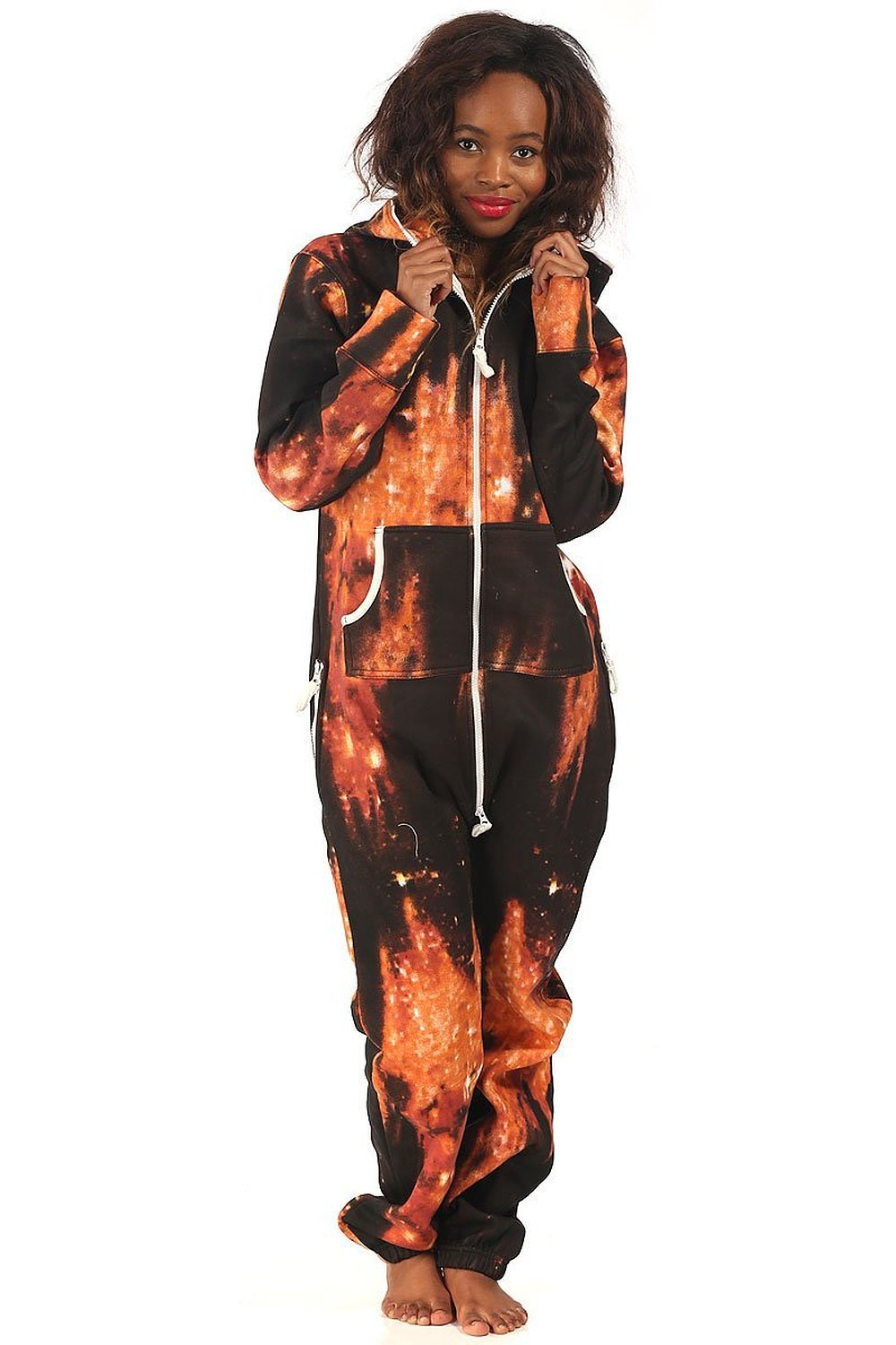 New Unisex Womens Fleece Tartan / Leopard Print Onesie Jumpsuit