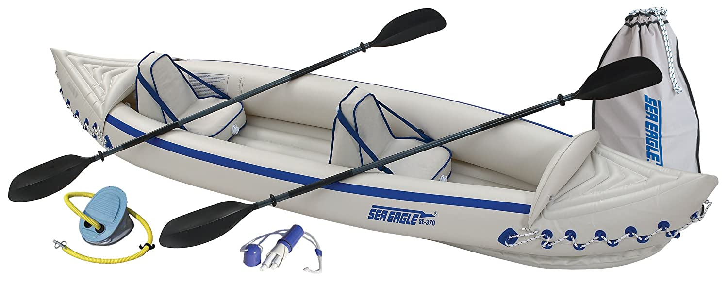 Sea Eagle SE370 Inflatable Kayak We love kayaking, and this kayak is a great balance between quality & affordability. It packs up small enough to fit in our Mini Cooper, and can handle a wide range of conditions.