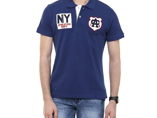 American Crew Men's Polo Solid T-Shirt (Navy Blue)