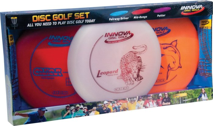 Innova DX Disc Golf Set (3-Disc) Disc golf is a great way to get outside, explore a new town and the equipment doesn't take up much room.